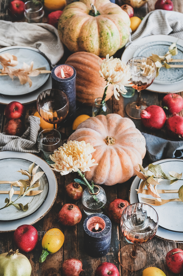 Fall table setting for Thanksgiving day party - Stock Photo - Images