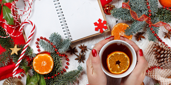 Christmas composition with notebook and gift box - Stock Photo - Images