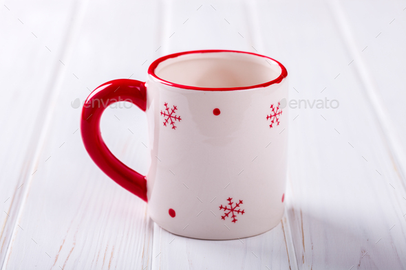 Christmas white Cup with red Snowflakes - Stock Photo - Images