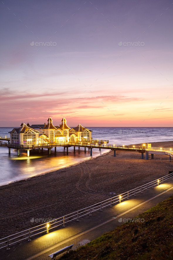 Beach in Sellin at purple sunrise, Germany. - Stock Photo - Images