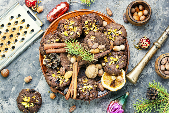 Festive chocolate cookie - Stock Photo - Images