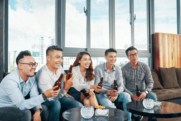 Coworkers in bar - Stock Photo - Images