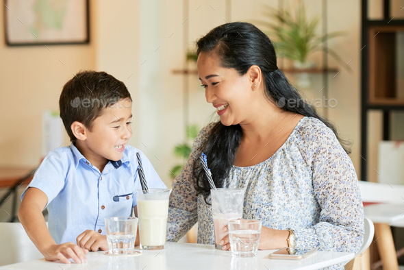 Mother and son in cafe - Stock Photo - Images
