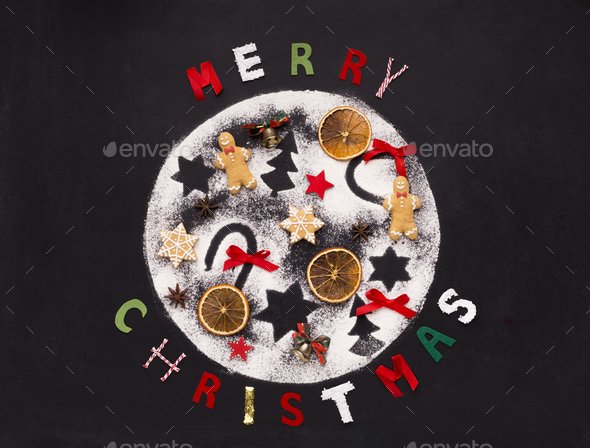 Christmas background with holiday patterns and ginger biscuits - Stock Photo - Images