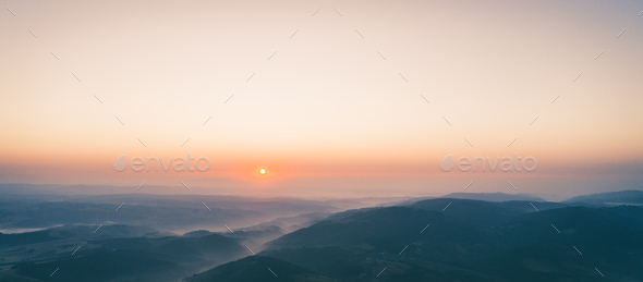 Overhead Aerial Shot of mountain area .Shot From air. - Stock Photo - Images