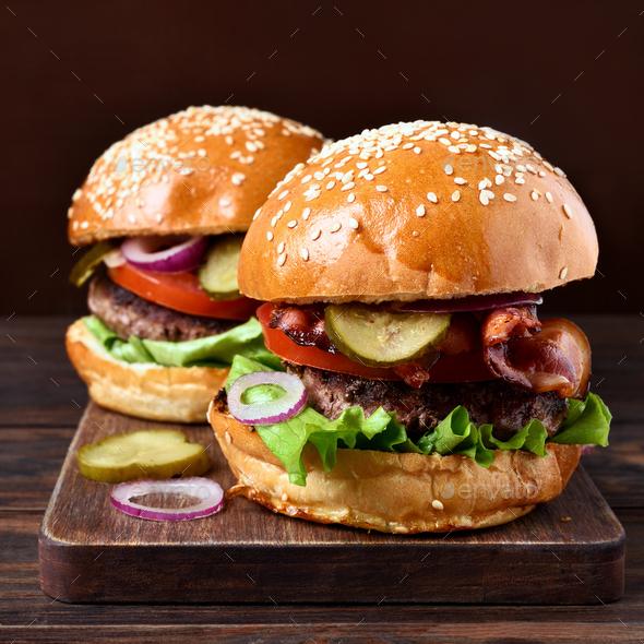 Homemade hamburger, close up view - Stock Photo - Images