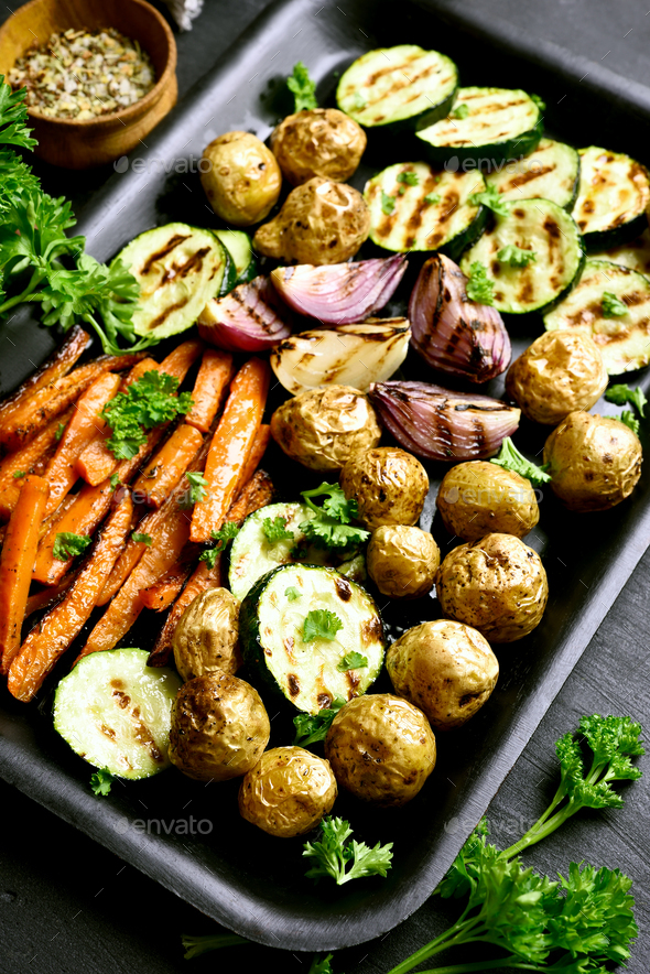 Grilled vegetables on baking tray - Stock Photo - Images