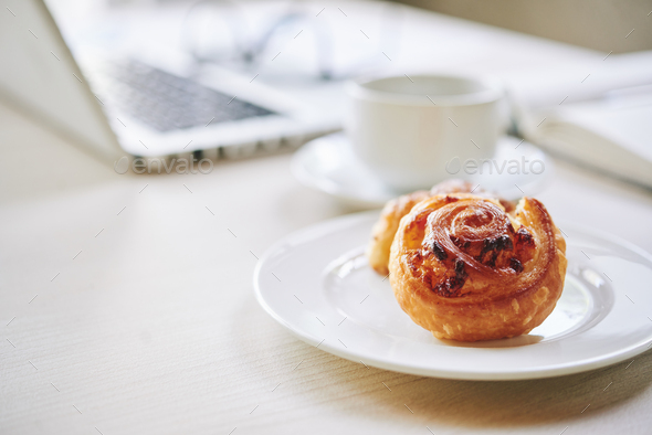 Tasty Danish bun - Stock Photo - Images