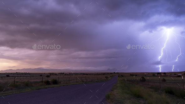 Farm Road Rural Country Storm Passing Lightning  Strike - Stock Photo - Images