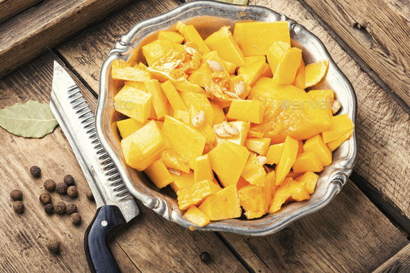 Sliced pumpkin on a plate - Stock Photo - Images