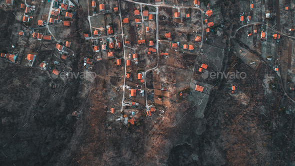 Overhead Aerial Shot of settlement in rural area .Shot From air. - Stock Photo - Images