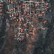 Overhead Aerial Shot of settlement in rural area .Shot From air. - PhotoDune Item for Sale