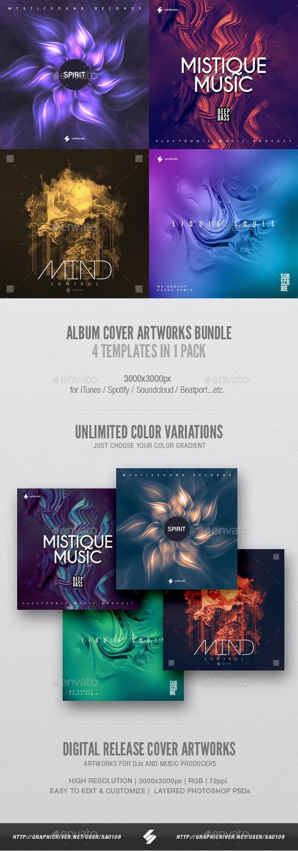 Music Album Cover Artwork Templates Bundle 22