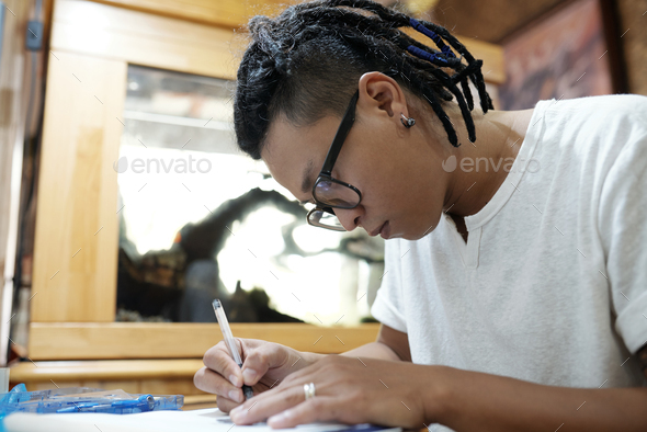 Drawing tattoo sketch - Stock Photo - Images
