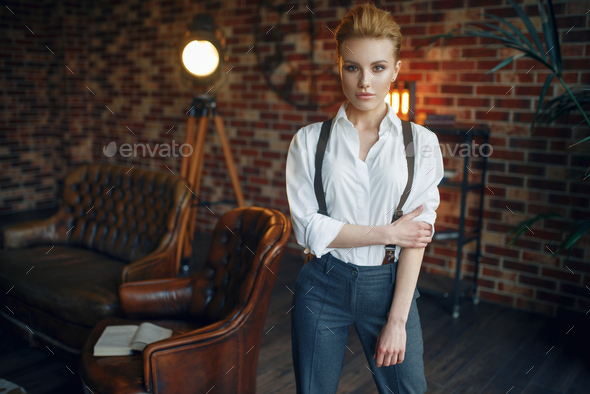 Woman in strict clothes, gangster style, mafia - Stock Photo - Images