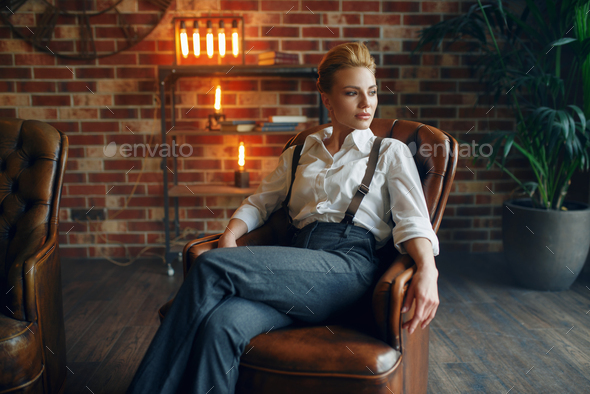 Elegance woman in strict clothes, gangster style - Stock Photo - Images