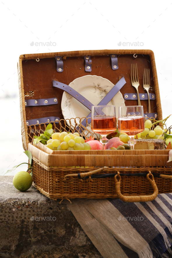 Picnic Basket With Fruit - Stock Photo - Images