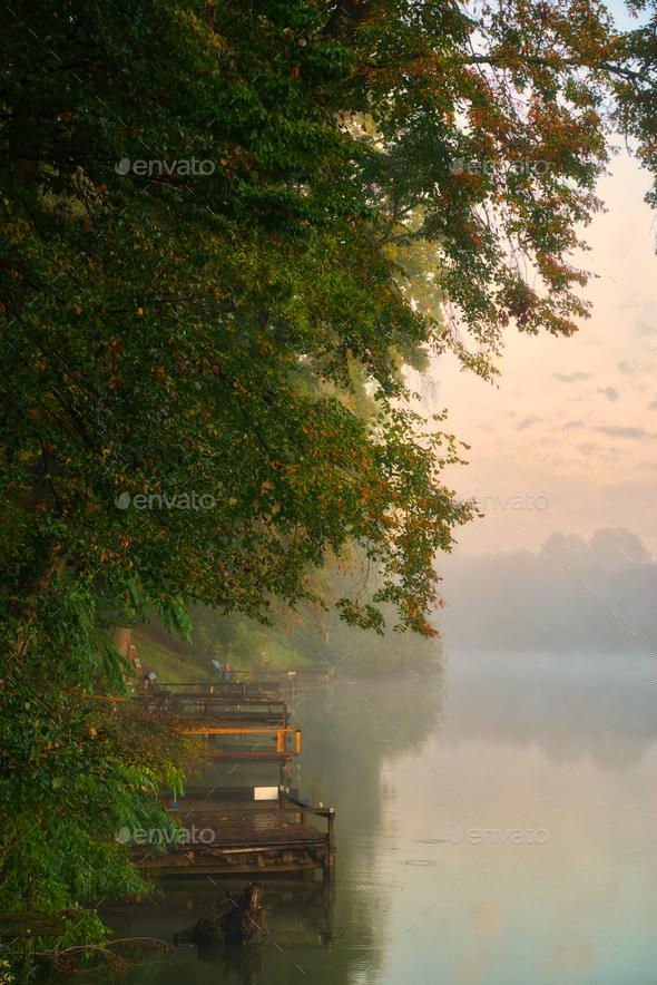 Autumn morning lake - Stock Photo - Images