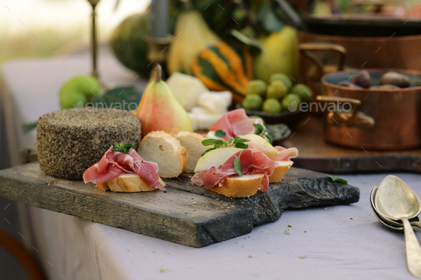 Ham Cheese Board for Appetizer - Stock Photo - Images