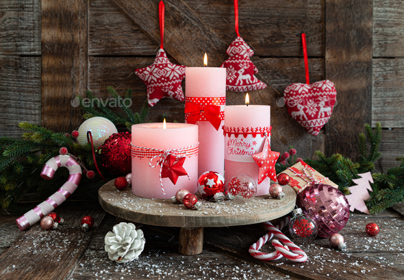 Candles and festive decorations for Christmas - Stock Photo - Images