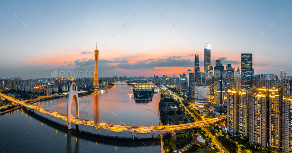 aerial photo of guangzhou - Stock Photo - Images