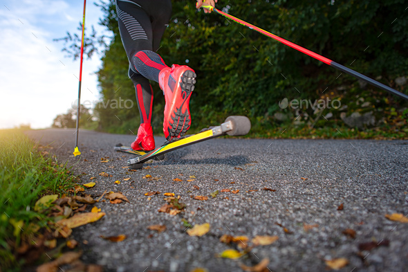 Roller skates on asphalt - Stock Photo - Images