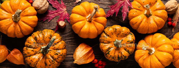 Autumn decorative pumpkins with fall leaves on wooden background. Thanksgiving or halloween holiday - Stock Photo - Images