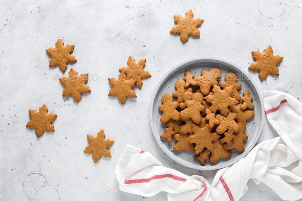 Christmas, X-mas or New Year baking culinary background. Xmas festive holiday gingerbread cookies - Stock Photo - Images
