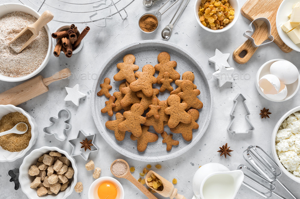 Christmas, New Year, X-mas, Noel or X-mas baking culinary background, recipe gingerbread cookies - Stock Photo - Images