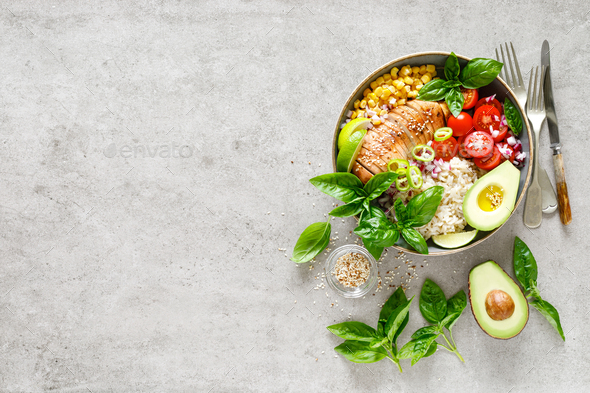 Buddha lunch bowl with grilled chicken breast, vegetables, basil salad and rice, healthy eating - Stock Photo - Images