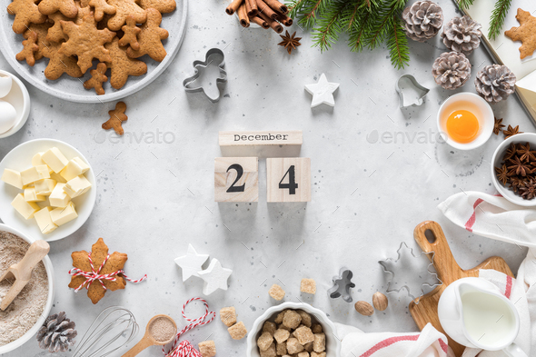 Christmas, Noel, X-mas, Noel, New Year or Xmas baking culinary background, greeting card - Stock Photo - Images