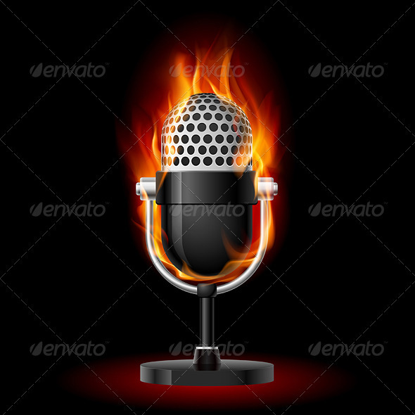 Old Microphone in Fire. - Man-made Objects Objects