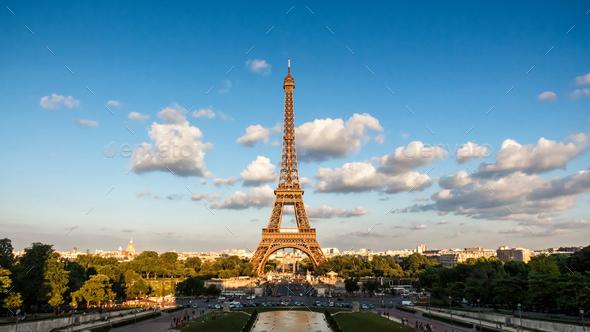 The Eiffel Tower, landmark of Paris, France - Stock Photo - Images