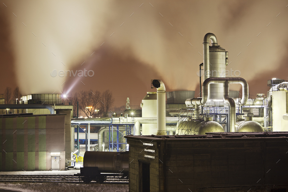 Steaming Industry At Night - Stock Photo - Images