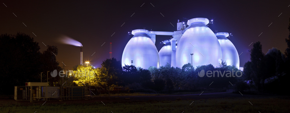Blue Sewage Plant At Night Panorama - Stock Photo - Images