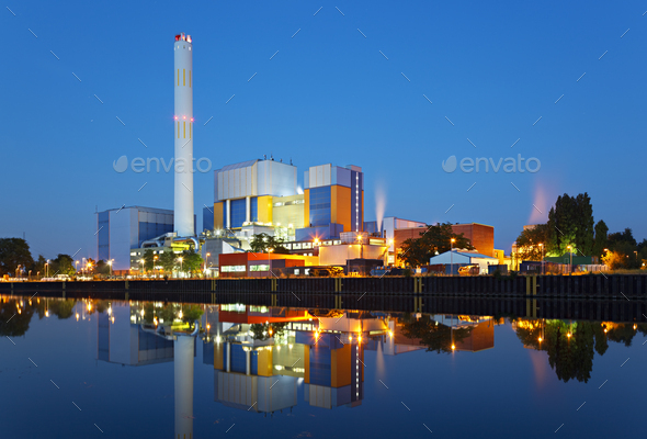 Waste Incineration Plant At Night - Stock Photo - Images