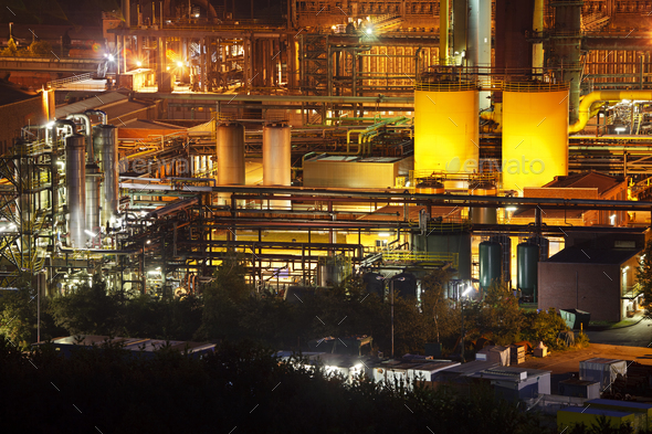 Industry At Night - Stock Photo - Images