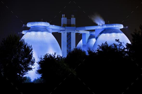 Sewage Plant At Night - Stock Photo - Images