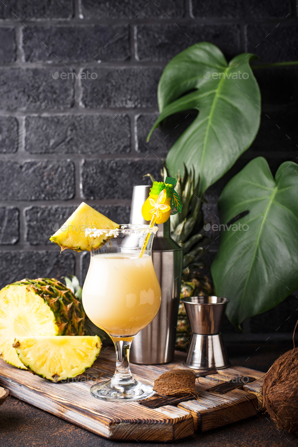 Pina colada. Traditional Caribbean cocktail - Stock Photo - Images