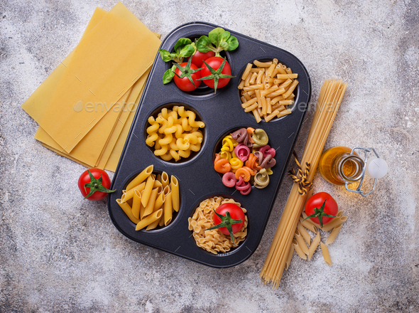 Various type of pasta and cherry tomato - Stock Photo - Images