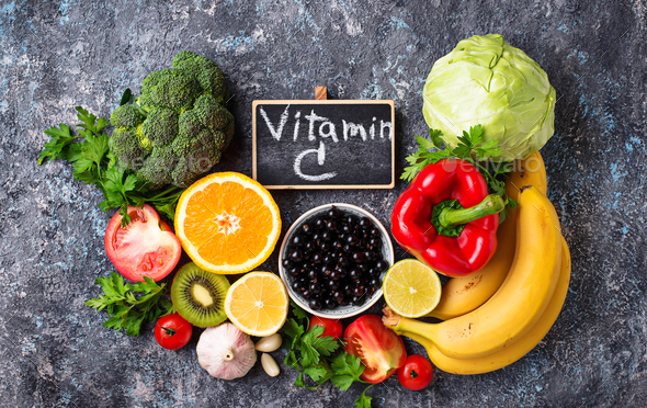 Foods rich in vitamin C. Healthy eating - Stock Photo - Images