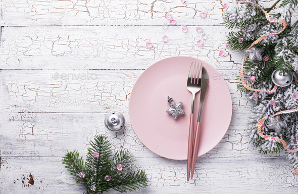 Christmas table setting in pink color - Stock Photo - Images