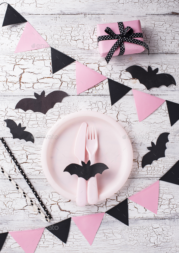 Halloween black and pink table setting - Stock Photo - Images