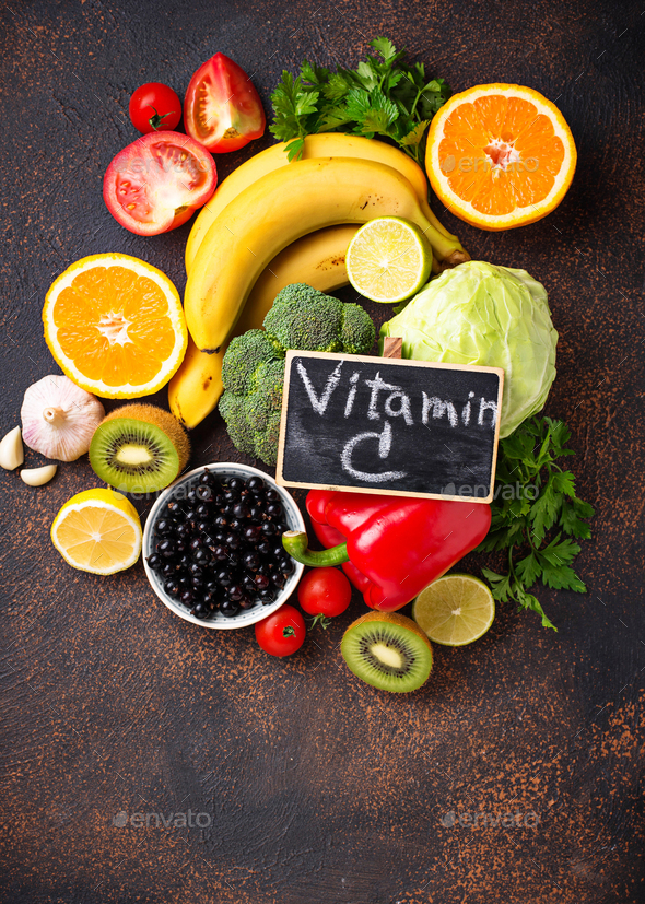 Food containing vitamin C. Healthy eating - Stock Photo - Images