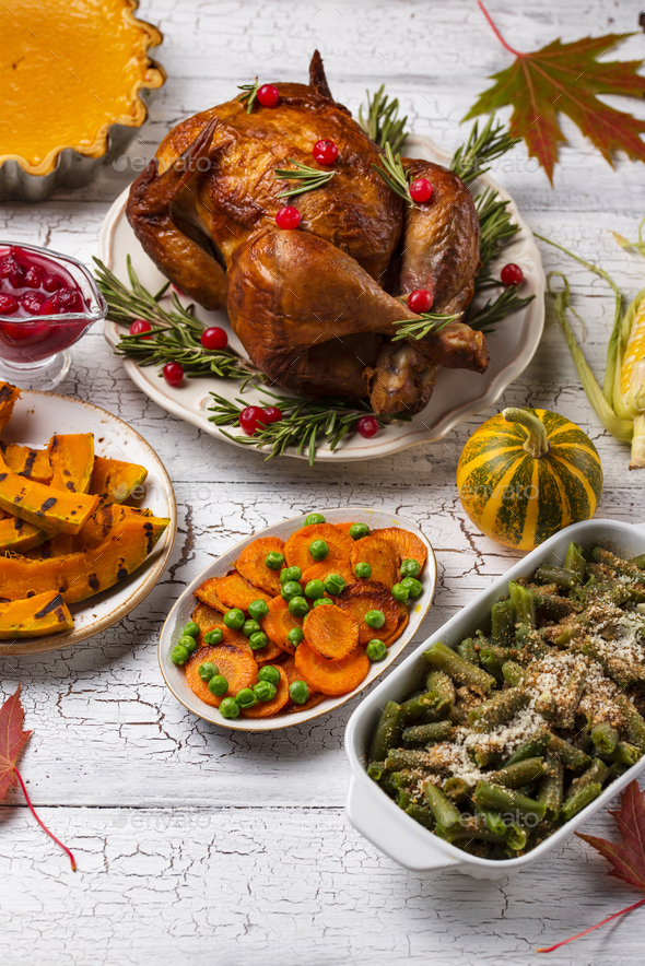 Thanksgiving Day traditional festive dinner - Stock Photo - Images