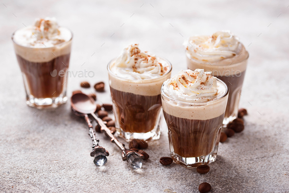 Coffee latte with whipped cream - Stock Photo - Images