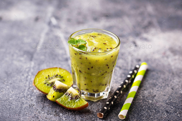 Sweet healthy kiwi smoothie cocktail - Stock Photo - Images
