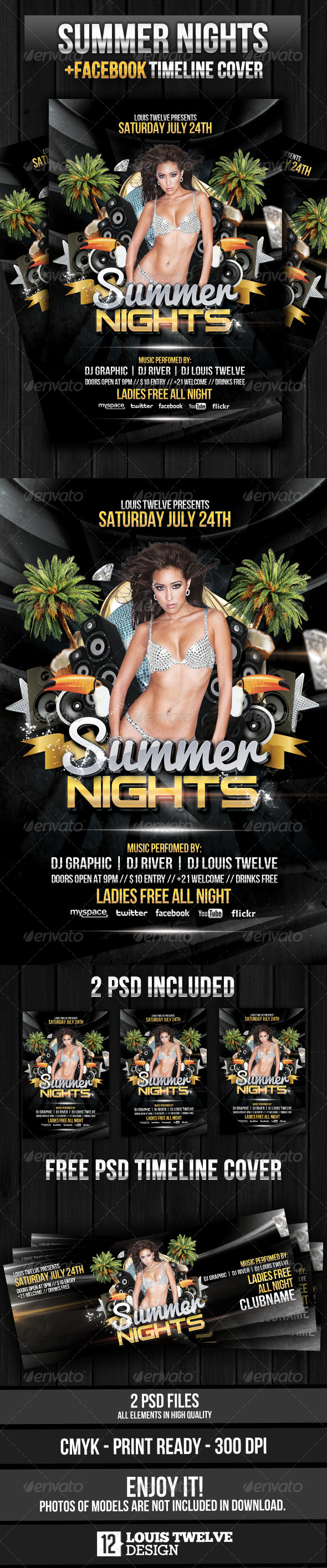 Summer Nights Party Flyer + Facebook Timeline - Clubs & Parties Events
