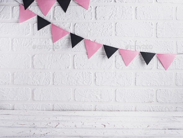 Paper pink and black garland - Stock Photo - Images