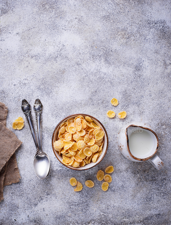 Sweet cereal corn flakes in bowl - Stock Photo - Images